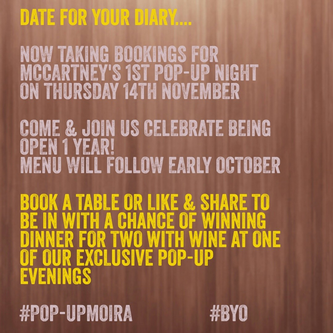 McCartney's of Moira Pop-Up Evenings