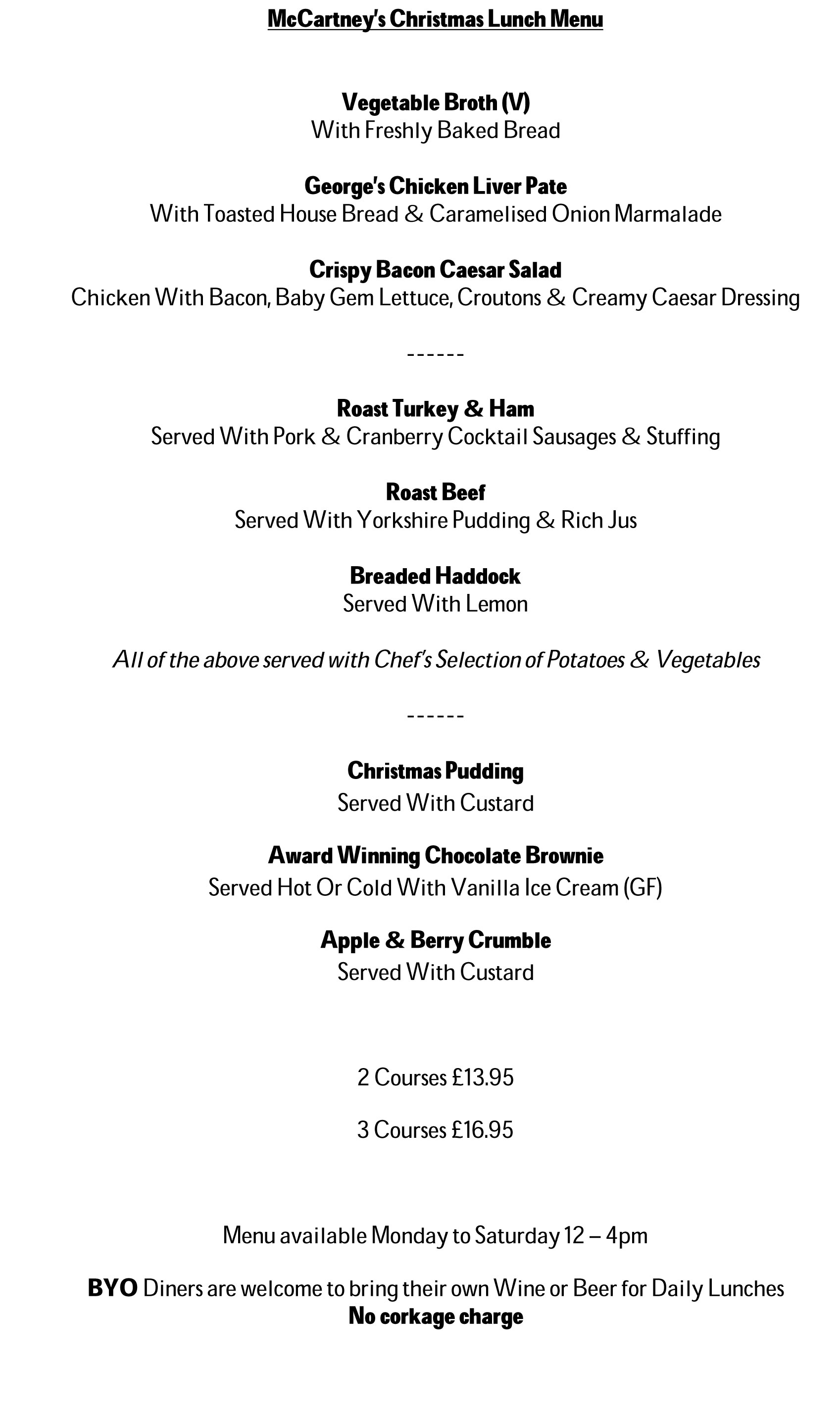 Christmas Lunch Menu at McCartney's