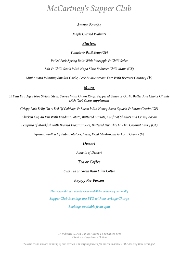 Supper Club Sample Menu
