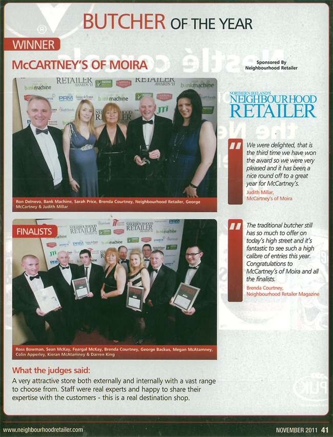 McCartney's of Moira Butchers Shop of the Year 2011