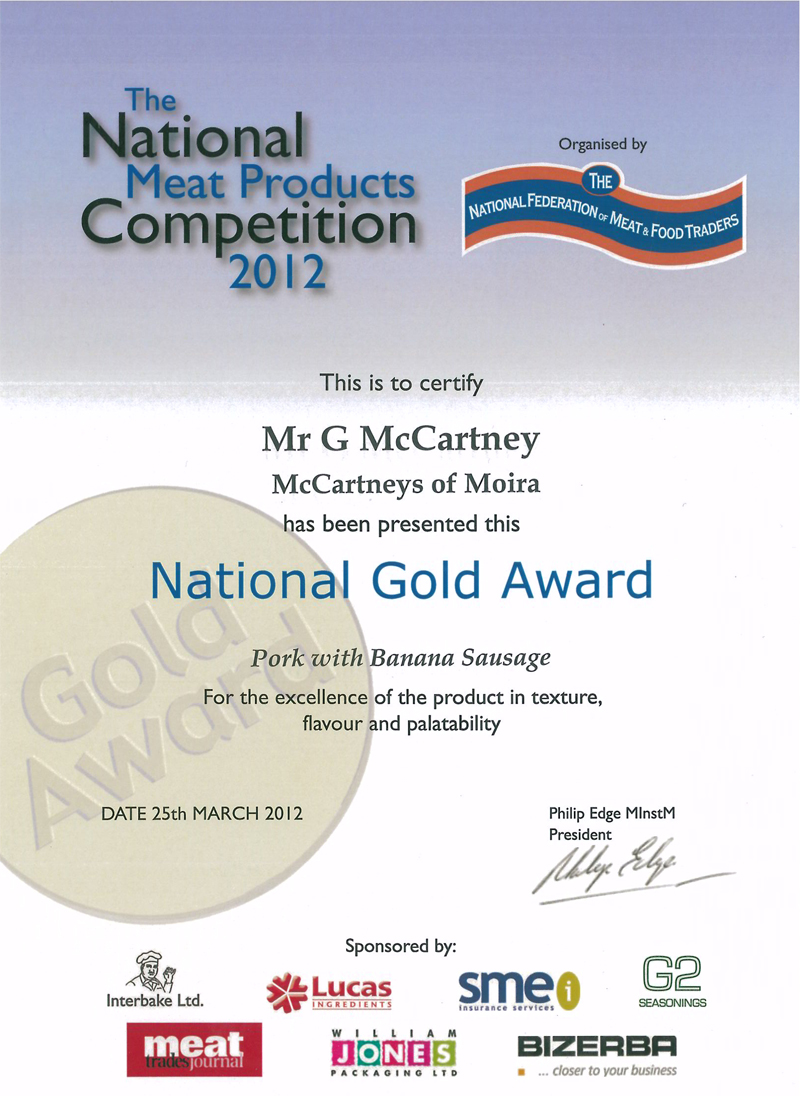 Gold Award for McCartney's Pork & Banana Sausage